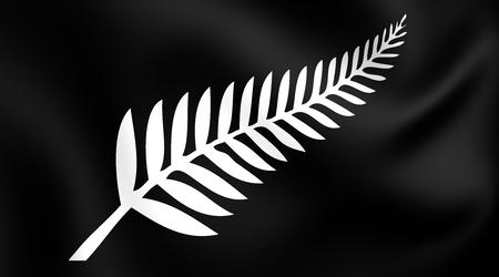 Silver Fern Flag, New Zealand. Close Up.