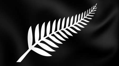 new zealand flag: Silver Fern Flag, New Zealand. Close Up.