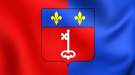 blason: 3D Flag of Angers City (Pays de la Loire), France. Close Up.
