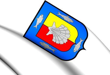 baja california: 3D Flag of the Baja California Sur, Mexico. Close Up.
