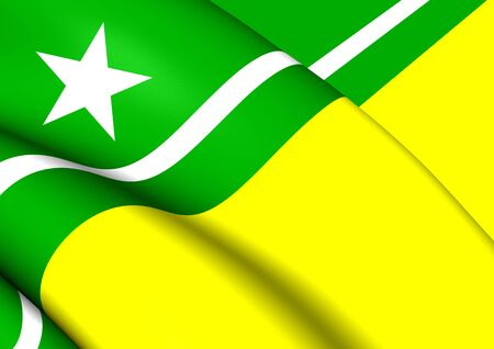 boa: 3D Flag of Boa Vista City (Roraima), Brazil. Close Up.