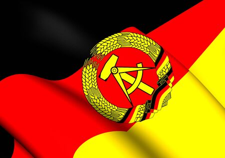 democratic: 3D Flag of German Democratic Republic. Close Up.