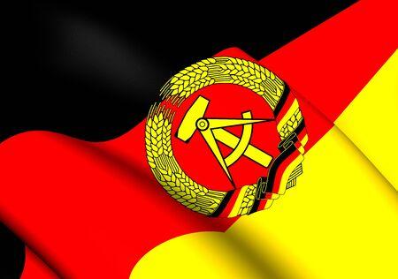 ddr: 3D Flag of German Democratic Republic. Close Up.
