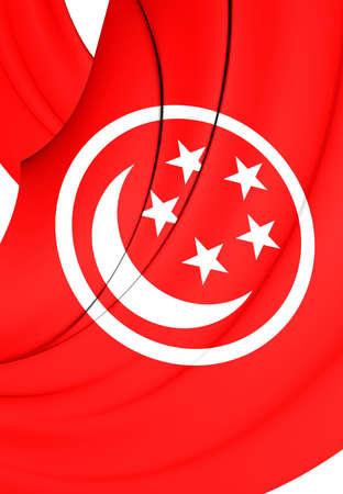 ensign: 3D Civil Ensign of Singapore. Close Up. Stock Photo