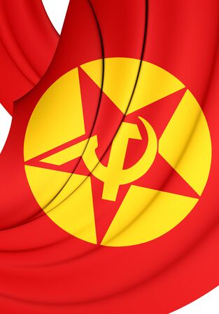 revolutionary: 3D Flag of Revolutionary Peoples Liberation Party-Front (DHKPC). Stock Photo