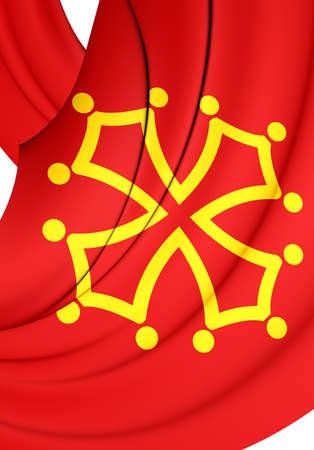 region: 3D Flag of Midi-Pyrenees Region, France. Close Up.