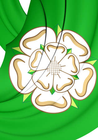 yorkshire: 3D Flag of North Yorkshire County, England. Close Up. Stock Photo