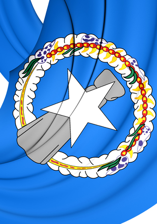 mariana: 3D Flag of Northern Mariana Islands. Close Up.