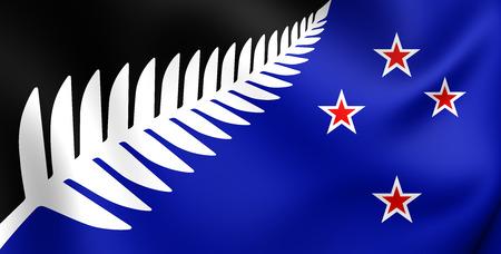 bandera de nueva zelanda: Plata Bandera del helecho, Nueva Zelanda. Acercamiento.