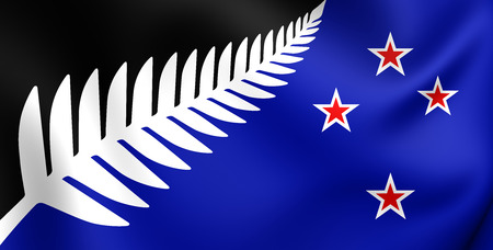 flag: Silver Fern Flag, New Zealand. Close Up.