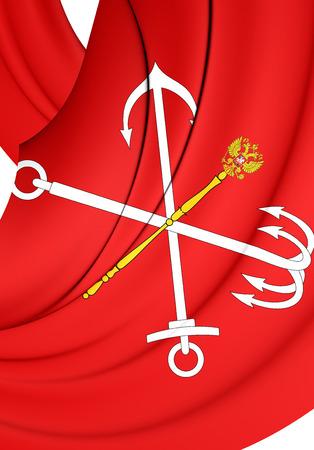 saint petersburg: 3D Flag of Saint Petersburg, Russia. Close Up.