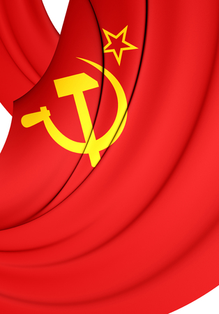 communistic: 3D Flag of the Soviet Union (1923-1955). Close Up.