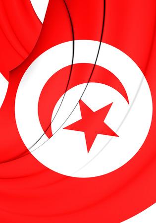 tunisia: 3D Flag of the Tunisia. Close Up.