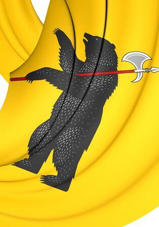 oblast: 3D Flag of Yaroslavl Oblast, Russia. Close Up.