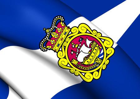 aviles: 3D Flag of Aviles City (Asturias), Spain. Close Up. Stock Photo