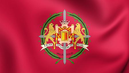 castilla: 3D Flag of Valladolid Province, Spain. Close Up. Stock Photo