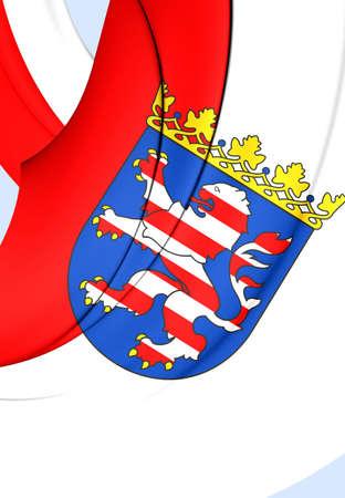 hessen: 3D Flag of Hessen Land, Germany. Close Up.