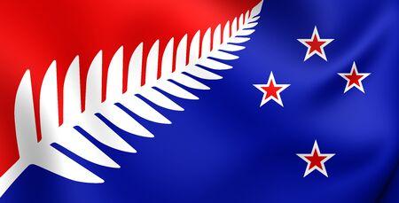 bandera de nueva zelanda: Helecho de plata (rojo, blanco y azul) Bandera, Propuesta Bandera de Nueva Zelanda. Foto de archivo