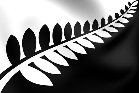 silver fern: Silver Fern (Black & White) Flag, Proposal Flag New Zealand. Stock Photo