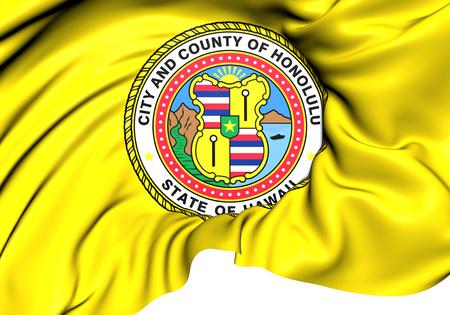 honolulu: 3D Flag of Honolulu, USA. Close Up.