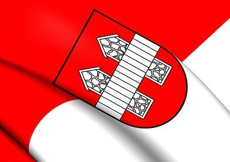 tirol: 3D Flag of Innsbruck City (Tirol), Austria. Close Up.