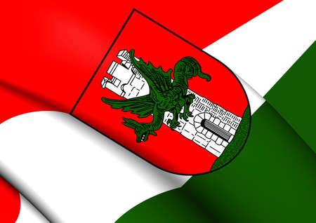 am: 3D Flag of Klagenfurt am Worthersee City (Carinthia), Austria. Stock Photo
