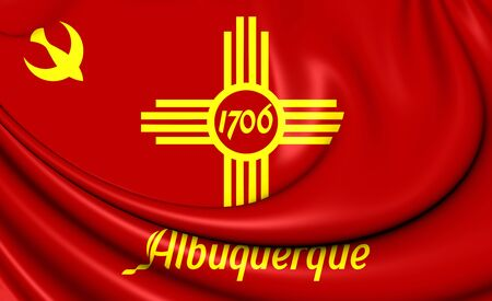 albuquerque: 3D Flag of Albuquerque, New Mexico. Close Up.