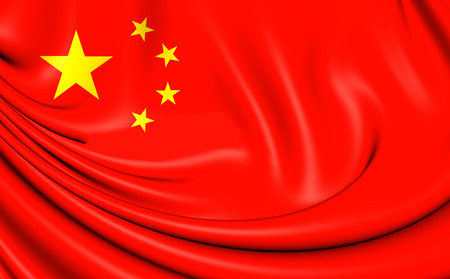 china flag: 3D Flag of the China. Close Up.