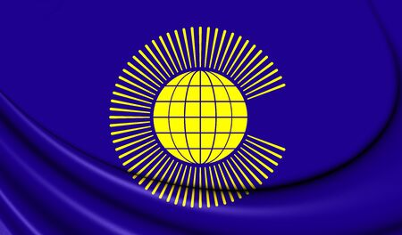 commonwealth: 3D Commonwealth of Nations Flag. Close Up.