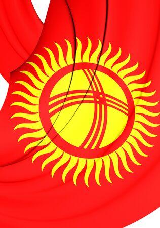 kirgizia: 3D Flag of the Kyrgyzstan. Close Up.