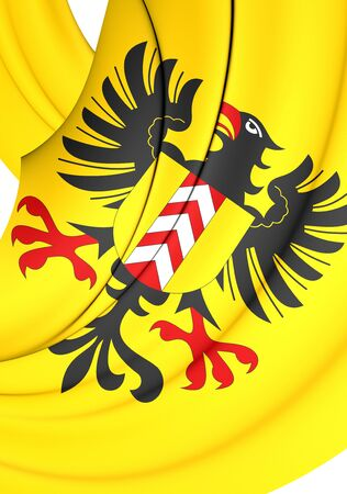 commune: 3D Flag of Neuchatel City, Switzerland. Close Up.