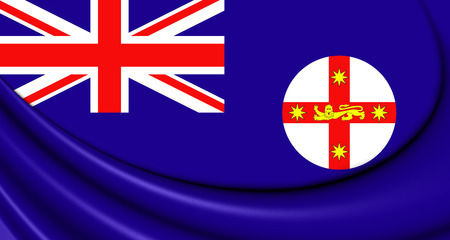wales: 3D Flag of New South Wales, Australia. Close Up. Stock Photo
