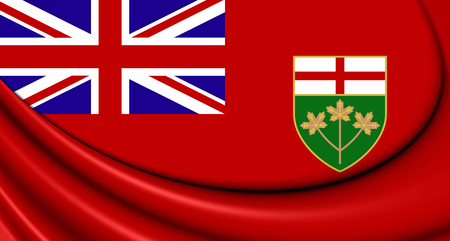 province: 3D Flag of Ontario, Canada. Close Up.
