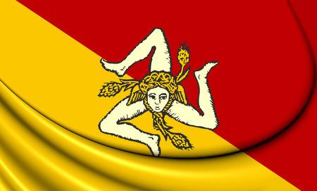 region sicilian: 3D Flag of Sicily, Italy. Close Up. Stock Photo