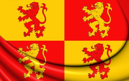 cymru: 3D Sons of Glyndwr Flag. Close Up. Stock Photo