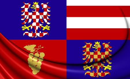 region: 3D Flag of South Moravian Region, Czech Republic.