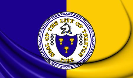 jersey city: 3D Flag of Trenton City (New Jersey), USA. Close Up.