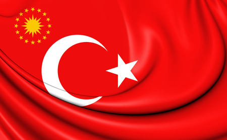 3D Presidential Standard of Turkey. Close Up.