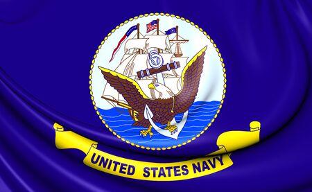 usn: United States Navy 3D Flag. Close Up. Stock Photo