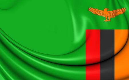 zambian: 3D Flag of the Zambia. Close Up.