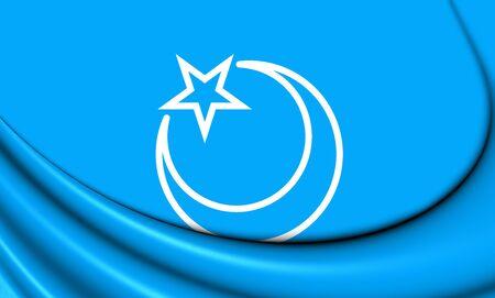 second: 3D Flag of Second East Turkestan Republic. Close Up.