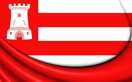 north holland: 3D Flag of Alkmaar (North Holland), Netherlands. Close Up.
