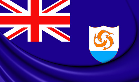 anguilla: 3D Flag of the Anguilla. Close Up. Stock Photo