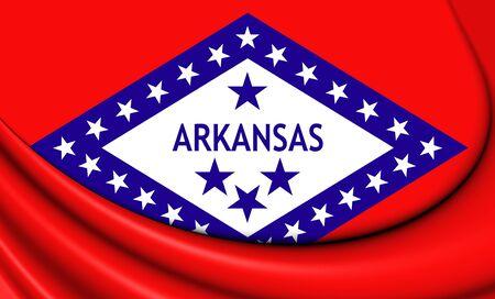arkansas: 3D Flag of Arkansas, USA. Close Up.