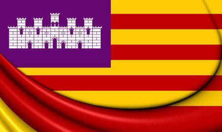 spainish: 3D Flag of Balearic Islands, Spain. Close Up.