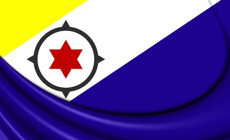 bonaire: 3D Flag of Bonaire, Netherlands. Close Up.