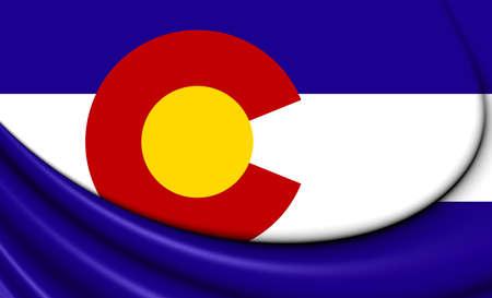 colorado flag: 3D Flag of Colorado, USA. Close Up.