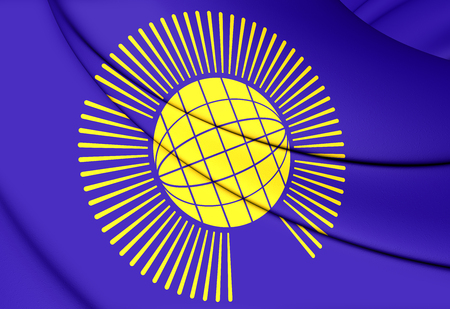 nations: 3D Commonwealth of Nations Flag. Close Up.