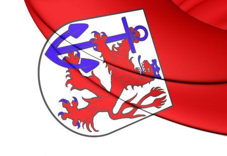 city coat of arms: 3D Flag of Dusseldorf (North Rhine-Westphalia), Germany.