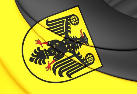 city coat of arms: 3D Flag of Goslar City (Lower Saxony), Germany. Stock Photo